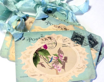 2 Gift Tags,  Beautiful Victorian Mint Green, Hang Tags, Party Favor Tags