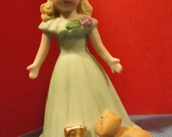 Vintage Enesco birthday figurine Growing Up Girl number 7