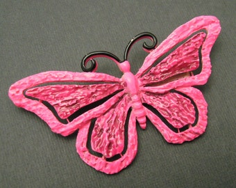 Large Vintage Butterfly Brooch Hot Pink Enamel JJ Jewelry P6951