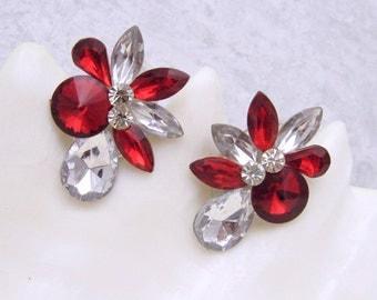 Red Rhinestone Clip on Earrings Vintage Jewelry E6961