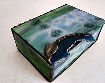 Stained Glass Box, Medium Blue Geode, Blue Agate Slice, with Vintage Leaf Finding, Art Glass