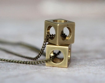 October Sale Industrial Cubes Pendant Set  Geometric Machine Cut Raw Brass Cubes  Brass Chain  Squares, Circles  Gift Box