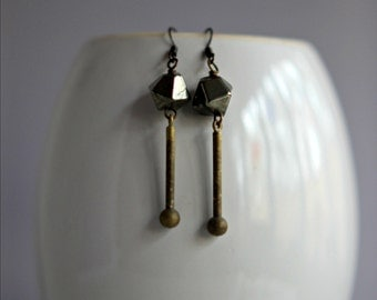 Modern Pyrite Earrings, Industrial Machined Brass Drops, Minimalist, Geometric, Metallic Black, Distressed, Grungy