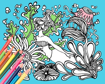 Mermaid Coloring Page - Digital Download Beach Art - A Colorful World Suf & Sun by Alexine and Lori Goldwag - Beach Adult Coloring Book