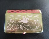 Vintage Yardley New York metal compact with interior dollar clip and multiple interior compartments