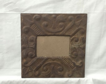 AUTHENTIC Tin Ceiling 4x6 Antique Rust Picture Frame Reclaimed Photo 284-16