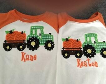 Tractor and Pumpkin Fall shirt