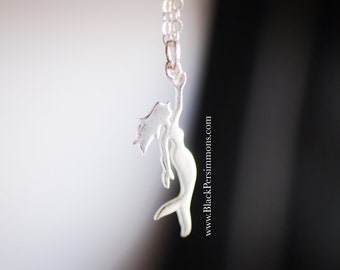 NEW - Little Cutout Mermaid Necklace - Sterling Silver Aquatic Creature Charm Pendant - Free Domestic Shipping