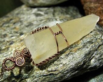 Golden Healer Lemurian Crystal Pendant Necklace: Wire Wrapped Rough Amphibole Quartz, Actinolite, Nickel Free Copper, Hypoallergenic Jewelry
