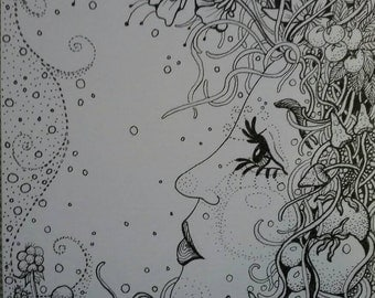 You do the coloring on this one of a kind drawing that I drew with ink of a whimsical women.