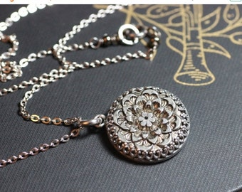 On Sale Victorian Button Necklace Crown Bezel Setting Silver Antique Button
