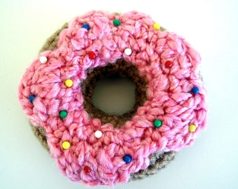 Crochet Strawberry Frosted Cake Doughnut Pincushion