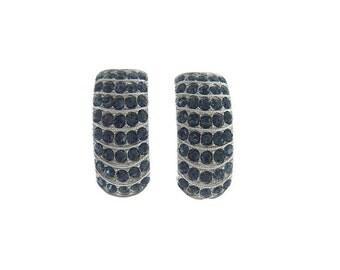 ORA Sapphire Vintage Earrings, 1940s Designer Rhinestone Earrings, Statement Bridal Jewelry, Vintage Wedding Jewellery