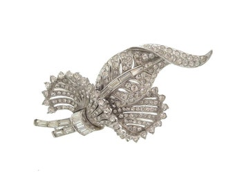 Coro Vintage Brooch, 1940s Fine Designer Katz Pegasus Jewelry, Statement Rhinestone Vintage Wedding Jewelry