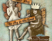 Build a Royal Fairy Digital Collage Sheet Printable Decoupage Paper for Journalling, Decoupage, Mixed Media Art, Altered Art, Junk Journals