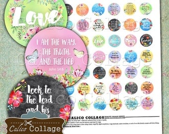 Bible Verses, Collage Sheet, 1 Inch Circles, Bottlecap Images, Images for Pendants, Cabochon Images, Printable Download, Religious Images