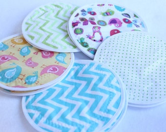 LARGE 5.5 inch Nursing  Pads,reusable nursing pad, waterproof breast pads, PUL, flannel, zorb, washable,  5 pairs