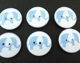 """6 Elephant Buttons. Blue Elephant with White Ears. Sewing Buttons.   3/4"""" or 20 mm.  Novelty Buttons Handmade By Me. Washer and dryer Safe."""