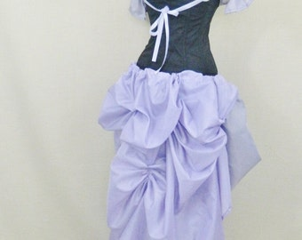 Mid Lilac Cabaret Taffeta Tie On Super Long Bustle Skirt-One Size Fits All