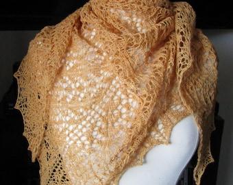 golden lacy shawl.  scarf.