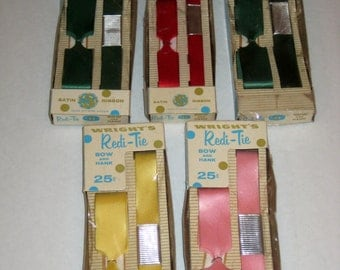 5 Vintage Wright's Redi-Tie Gift Wrapping Ribbon - Red, Green, Pink, Yellow