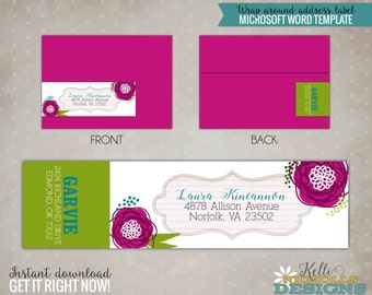 Floral Wreath Wrap Around Return Address Label, Instant Download #S102