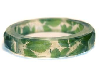 Green Leaves Resin Bangle Bracelet
