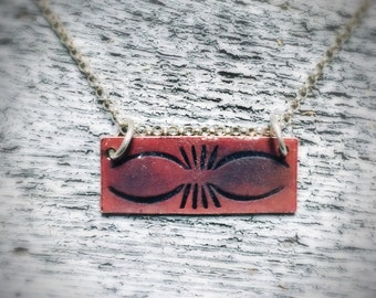 Hand Stamped and Enameled Pendant