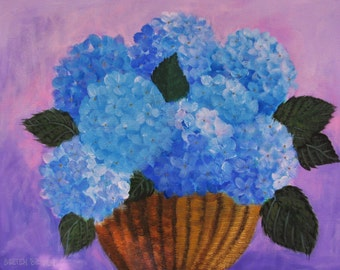 "Hydrangea Cape Cod Cottage Floral Original signed Acrylic Painting 11""x14"""