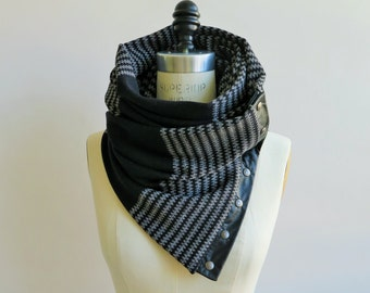 Sale Black and gray Chunky circular infinity scarf