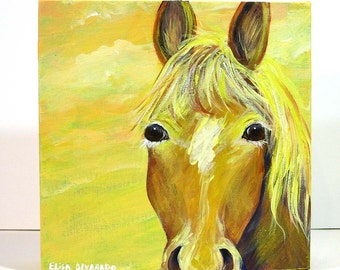 horse painting, Sunrise Horse, original acrylic painting on canvas, wall art, home decor, horse art, pony