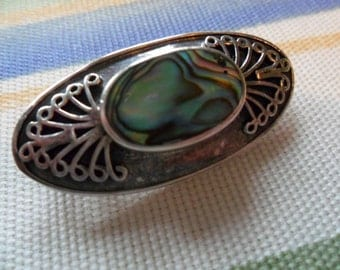Vintage Silver Abalone Shell Brooch