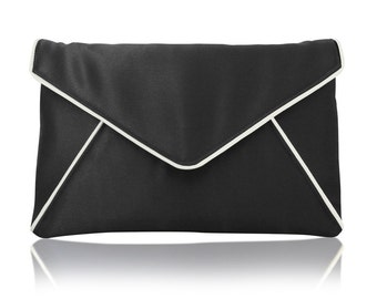 Black and ivory satin envelope Katerina clutch purse