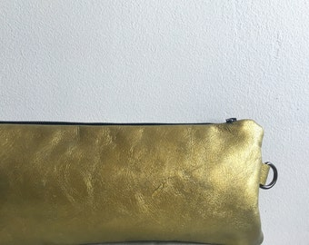 Metallic Leather Clutch Handbag Wristlet Sale , Gold Foil Metallic Leather , Fashion Accessories, Edgy Bags