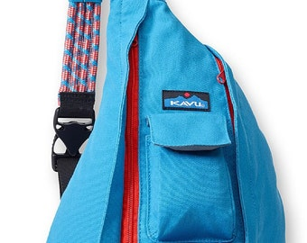 Monogrammed Kavu Rope Bags - River Blue - Great gift for College, Teens, Women, Outdoors Satchel Crossbody Tote