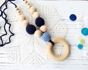 Blue - Wooden teether - Nursing necklace - Baby boy - Teething necklace - teething ring - Blue necklace - baby shower gift - teething toy