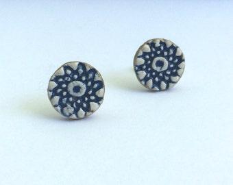 Everyday Handmade Blue and White Ceramic Stud Earrings