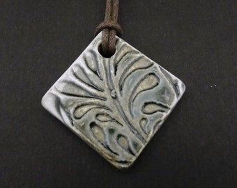Ceramic Pendant Necklace - Woodfired Satin Matte Blue Gray