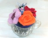 Glass punch cup of felted flowers with tiny hidden bunny original fine art