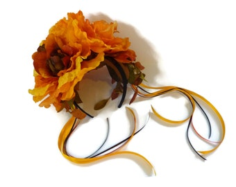 """De los Muertos Flower Crown, Calavera Floral Headpiece, Frida Costume Headband,  Day of the Dead Headpiece - """"Corona de Flores"""""""