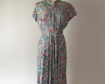 Vintage 1940s Silk Dress - Paisley - Red Blue - 40s Day Dress