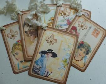 Paris tags, french themed, ladies, vintage style, eiffel tower, fleur de lis, roses, party favor tags - set of 6