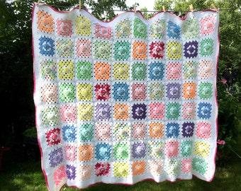 Vintage Granny Square Crocheted Afghan, Pale Pastel Colors, White Background, Raised Circles, Spring, Pink Border, Baby's Room