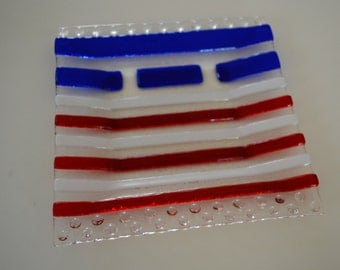 4th of July glass fused square plate by YafitGlass