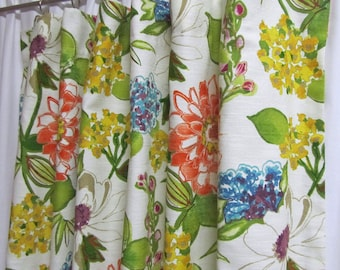 "Custom Retro Curtain Panels, One Pair Rod-Pocket 50""W, Bright Floral Curtains, Mod Drapery Panels, Retro Window Treatments"