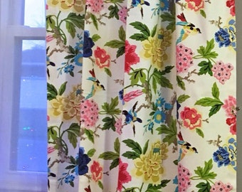 "Bird Theme Curtain Panels, Floral Rod-Pocket Curtains, Blue Draperies, Custom Window Curtains, Multi-Color Window Treatments, One Pair 50""W"