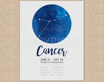 Constellation Nursery, Cancer Zodiac Art, Nursery Decor, Baby Nursery Art, Space Nursery, Wall Art // ArtPrint or Canvas // N-XC01-1PS AA1