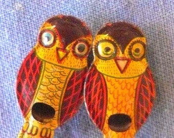 Cracker Jack Tin Owl Whistle Lithograph Japan