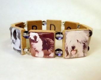OLD ENGLISH SHEEPDOG Bracelet / Dog Lover Gift / Scrabble Handmade Jewelry