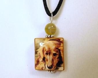 GOLDEN RETRIEVER Jewelry / Beaded SCRABBLE Pendant / Charm